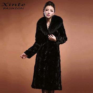 Plus Size S-8XL 2017 New Arrival Fur X-Long Coat Faux Artificial Mink Fur Clothing Outwear Black Mother Gift Warm