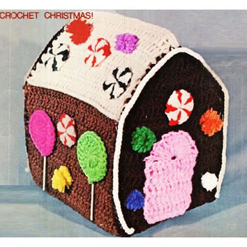 Crochet GINGERBREAD HOUSE Pattern Vintage 70s Crochet CHRISTMAS Gingerbread House Pattern Christmas Decor