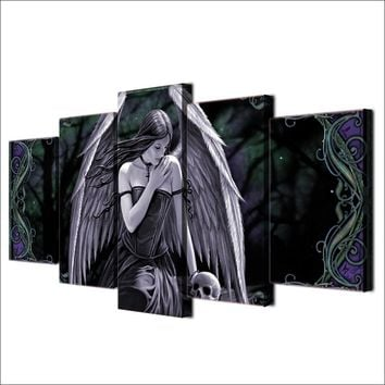 Angel Girl with Wings and Skull canvas - Dark 5 piece wall print