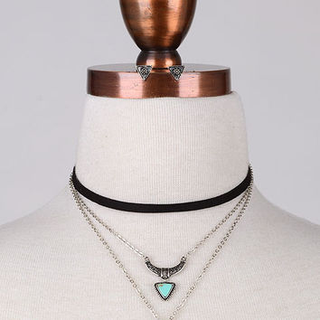 Boho Teardrop Stones Layered Choker Necklace - Black/Turquoise