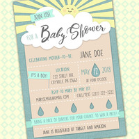 Cloud Baby Shower Invitation, Cute Shower Invite, April Baby Invite, Summer Baby Shower, Spring Baby PDF, Yellow Blue Baby Invite, Baby PDF