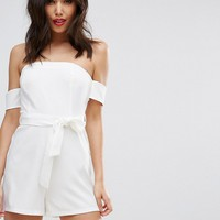 PrettyLittleThing Bardot Tie Detail Romper at asos.com