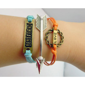 Best friend Bracelet,Love bracelet,arrow bracelet,Circle bracelet,Ring bracelet,leather bracelet,hipsters jewelry,braided bracelet,Turquoise bracelet