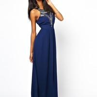 Lipsy Maxi Dress with Beaded Neck
