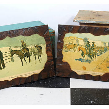 2 Decoupage Western Cowboy Wood Wall Art Prints . Vintage . Artist Frederic Remington . The Fall of the Cowboy . The Santa Fe Trade, 1889
