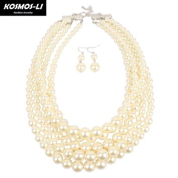 KOSMOS-LI Pearl Necklace Multilayer Simulated  Pearl Bead women necklace classic trendy Statement necklaces party jewelry 8050