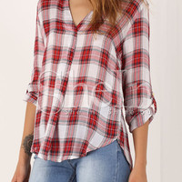 Red Long Sleeve Plaid High Low Blouse -SheIn(Sheinside)