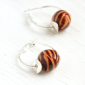 Zebra Pattern, Tribal Inspired, Sterling Silver Hoop Earrings, Wooden Pattern Beads, Simple Everyday Jewelry