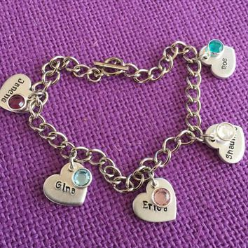 Mom Bracelet - Mother's Day Gift - Mom Bracelet - Toggle Charm Bracelet - Heart Name Birthstone - Personalized Jewelry - Mom