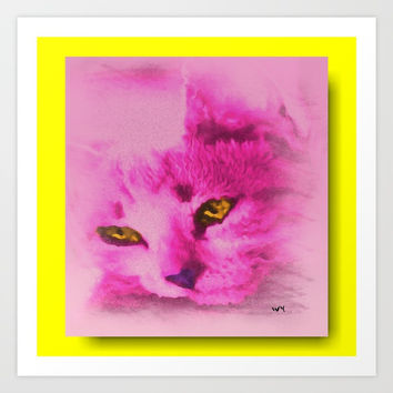 Pink Kitten Paint Art Print by Jessica Ivy