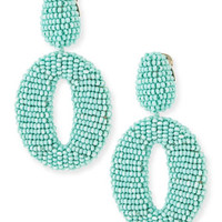 Oscar de la Renta Oscar O Beaded Clip Earrings, Aquamarine