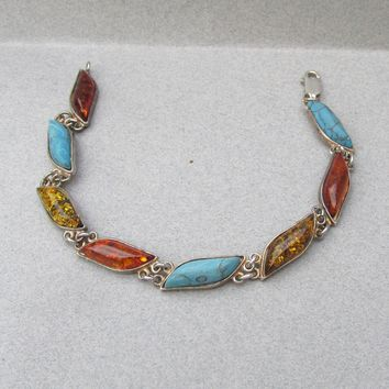 Beauty! 1970's Vintage Sterling Silver Honey & Cognac Baltic Amber + Turquoise Link Bracelet