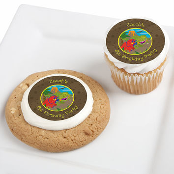 Dinosaur Birthday - Personalized Birthday Party Edible Cupcake Toppers - 12 ct