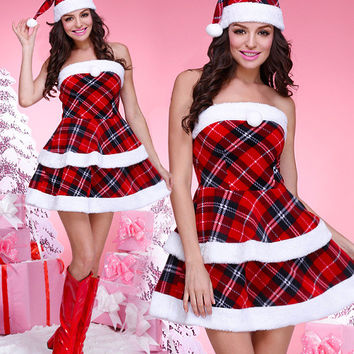 Plaid Print Santa Costumes
