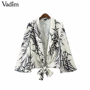 Vadim women leaves print blazer Notched collar bow tie long sleeve coat vintage casual outerwear casaco feminine tops CT1471