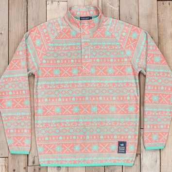Southern Marsh Alpine Fleece Pullover- Coral/Mint
