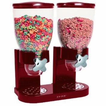 Zevro KCH-06125/GAT203 Indispensable Dry Food Dispenser, Dual Control, Red/Chrome