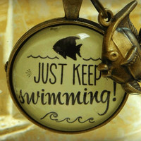 Just Keep Swimming Endurance and Perseverance Motivational Quote Necklace, Motto of Dory in Finding Nemo