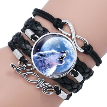 NingXiang Popular Black Color Gothic Wolf Moon Glass Dome Charm Bracelet Bangle Jewelry Love Boy Men Handmade Sirius Accessories
