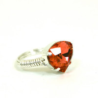 Swarovski Crystal Pear Shaped Rhinestone Padparadscha Peach Silver Wire Wrapped Bling Ring Size 9
