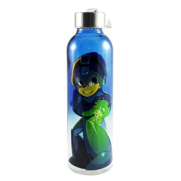 Nintendo OFFICIAL Megaman Sports and Fitness Training Glass Water Bottle, 20oz