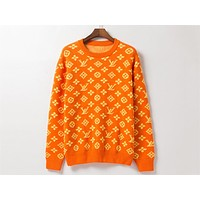 Louis vuitton hot casual printed hoodies fashion classic logo jacquard round neck sweaters Orange