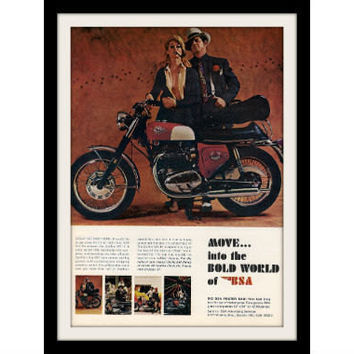 1968 BSA Spitfire Motorcycle Ad Vintage Advertisement Print
