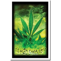 Marijuana Pot Leaf It's 4:20 Somewhere Flocked Blacklight Poster Print - 23x35 Blacklight Poster Print, 22x34 Blacklight Poster Print, 22x34