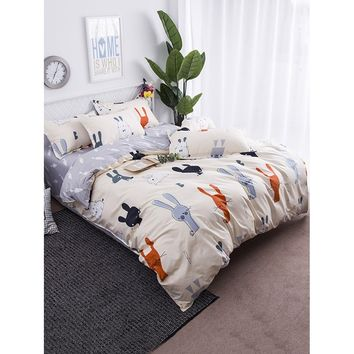 Cartoon Rabbit Print Sheet Set