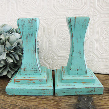 Robins Egg Blue Decor Candle Holders Candleticks Beach Cottage