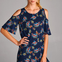 Just Dance Cold Shoulder Floral Dress - Navy
