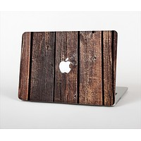 "The Vetrical Raw Dark Aged Wood Planks Skin Set for the Apple MacBook Pro 13"" with Retina Display"