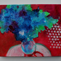 "Original Still Life Painting Abstract Floral  Acrylic ""Blue Flowers in a Red Room"""