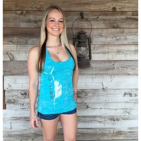 Shore Side Tahiti Blue Racerback Sailfish Tank Top