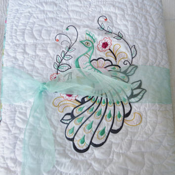 Peacock baby girl quilt for modern bedding - Unique baby gift - Homemade blanket