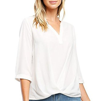 Califul Womens Casual Chiffon Ladies V-Neck Cuffed Sleeve Draped Front Blouse Tops