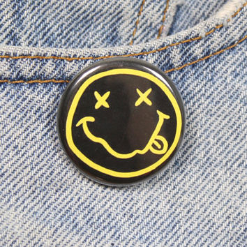 Nirvana Smiley Face 1.25 Inch Pin Back Button Badge