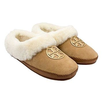 Tory Burch Coley Slipper, Suede/Shearling, Royal Tan/Gold