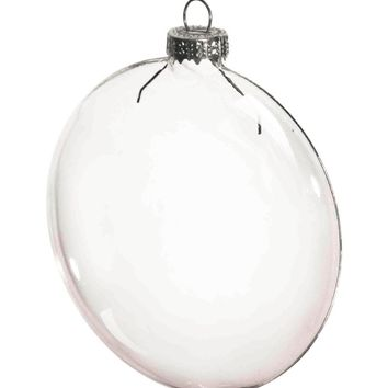 Free Shipping DIY Paintable Clear Christmas Decoration 80mm Glass Disc/Paper Silver Cap Ornament, 100/Pack