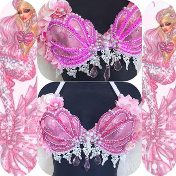 LED Poison Pink Siren Seashell Bra (LED lights): rave wear, festival, edm, rave bra, edc, electric mermaid, kandi, plur, coachella, mermaid