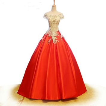 Cap Sleeves Red Satin Ball Gown Crystal Appliques Embroidery Wedding Dress Boat Neck Bridal Gown Wedding Dress