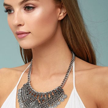 Moon Dance Silver Statement Necklace