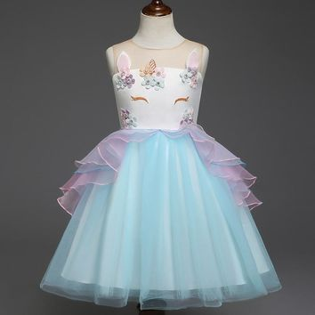 Fairy Formal Girls Clothing Unicorn Dress for Wedding Evening Wear Children Costume Kids Clothes Party Embroidery Girl Dresses