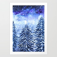 pine forest under galaxy Art Print by Color And Color