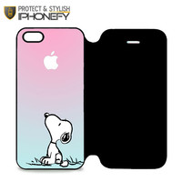 Snoopy Gradient Pink Mint Custome Apple Logo iPhone 5 Flip Case|iPhonefy