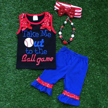 In Stock-Take me out to the ball Game Capri Set-