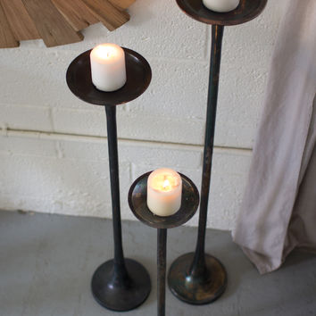 Set of 3 Cast Aluminum Candle Stands- Antique Black
