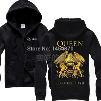 Cool 2 colours Britain Queen Band Cotton Zipper Sweatshirt fleece Rock Hoodies Winter jacket sudadera punk heavy metal lion eagleAT_93_12