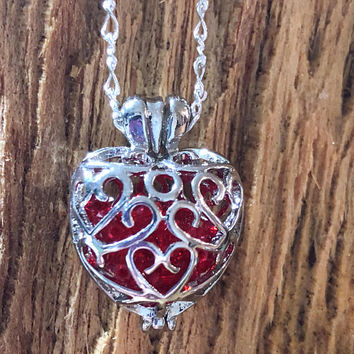 Valentines Day Heart Necklace, Crystal Necklace, Heart Necklace, Red Heart Necklace, Valentines Day Gift, Locket Necklace, Gift for her