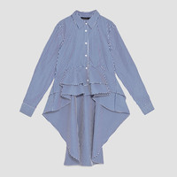 POPLIN SHIRT WITH ASYMMETRIC RUFFLES DETAILS